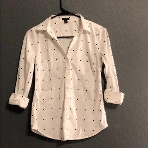 Ann Taylor polka dot button up shirt 4 petite